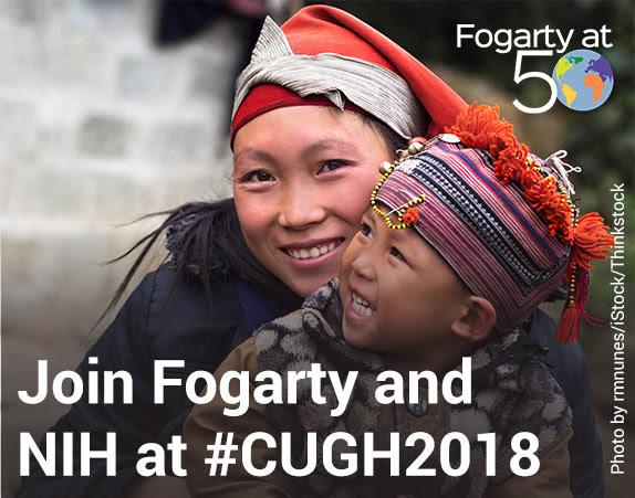 Join Fogarty and NIH at #CUGH2018, mother and child in background