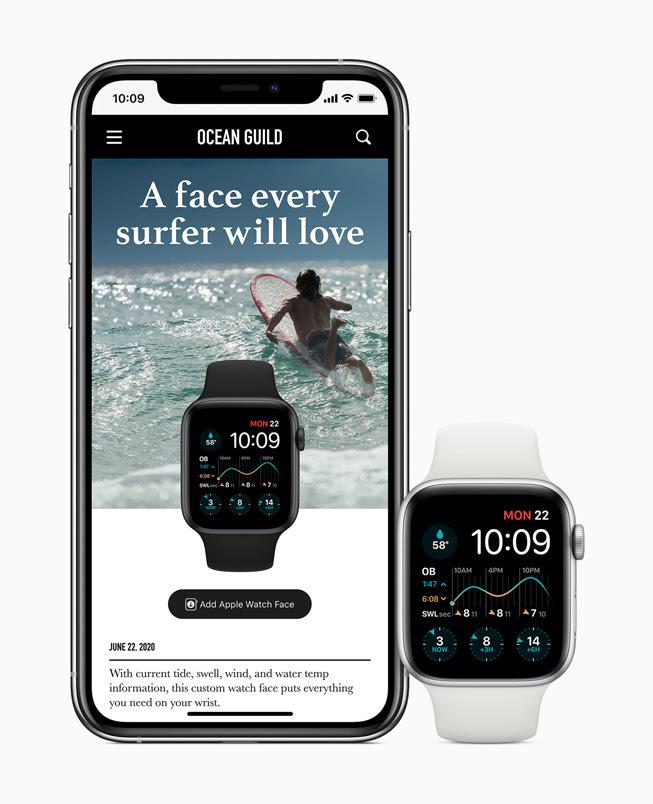 與 iPhone 11 Pro 共享並顯⽰於 Apple Watch Series 5 螢幕中的⾃訂衝浪錶⾯。