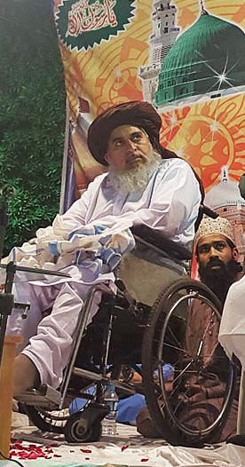 Islamist cleric Khadim Hussain Rizvi at lecture in Lahore, Pakistan. (Wikipedia, Muhmmad Qureshi)