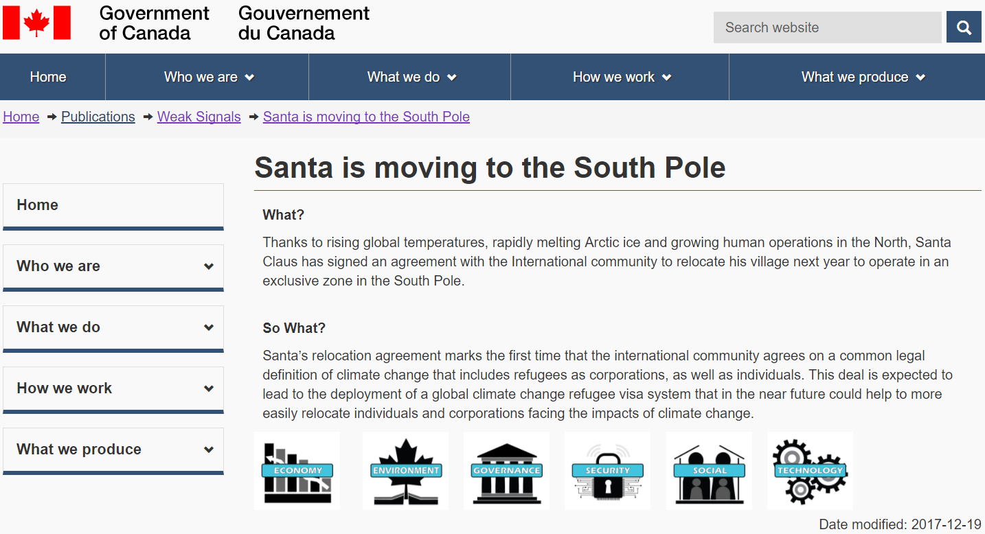 Gov't Website Claims Santa Will Move To The South Pole To Escape 'Global Warming'