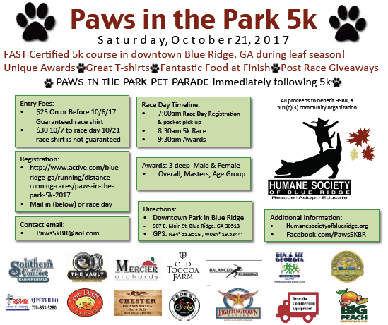 Paws in the Park 5k poster