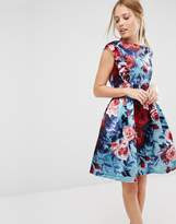 Closet London Closet Satin Floral Print Sleeveless Skater Dress