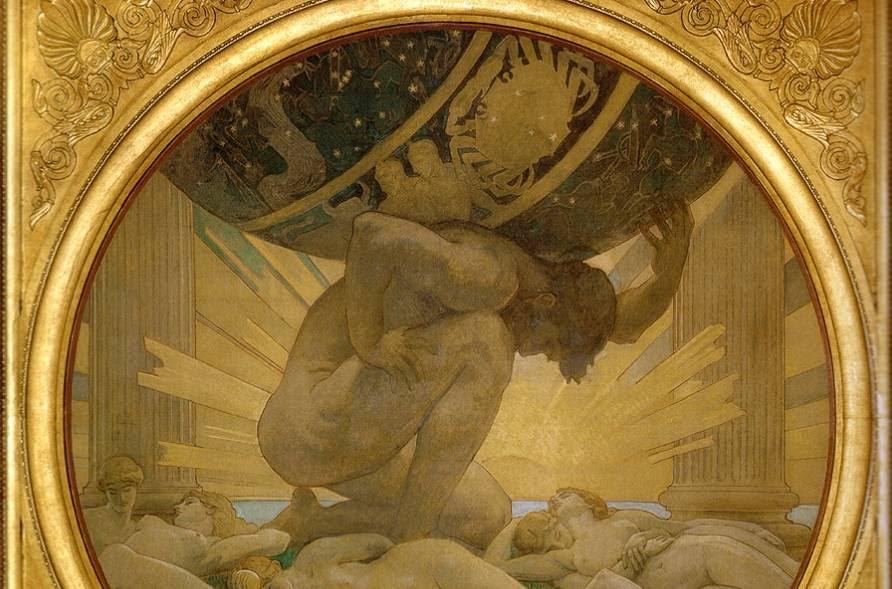 Atlas, de Titanenzoon die het hemelgewelf moet dragen (John Singer Sargent, 1925)