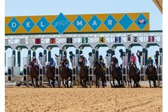 Horses leave the gate at Del Mar