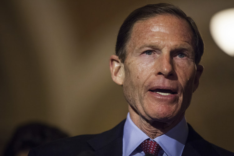 Richard Blumenthal speaks during a news conference in Washington, D.C., on May 16. (Zach Gibson/Bloomberg)</p>