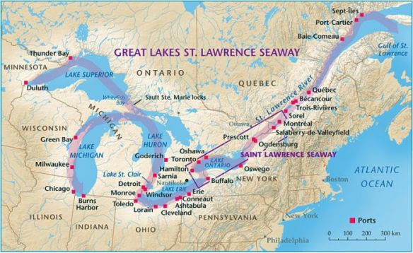 St Lawrence Seaway Connecting Cities