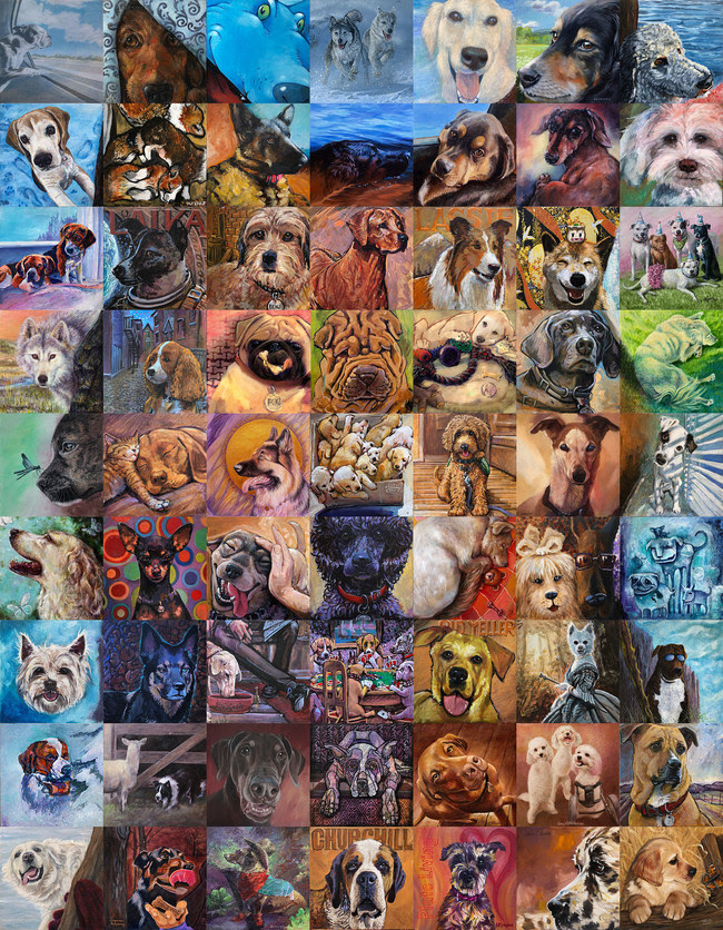 DOG- Wolf to Best Friend Mural (Detail) 100 Artists, 1 unified mural