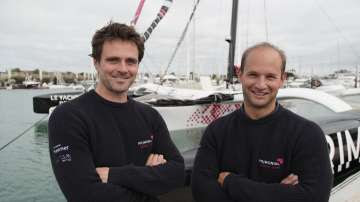 UNSPECIFIED - SEPTEMBER 30: Multi 50 Primonial, skippers Sebastien Rogues and Matthieu Souben, are posing prior to the Transat Jacques Vabre, on September 30, 2019. (Photo by Charles Tiger)