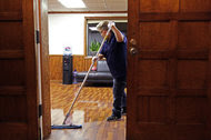 Maria Murillo mopping a floor at Singularity University, one of Squiffy Clean's first clients.
