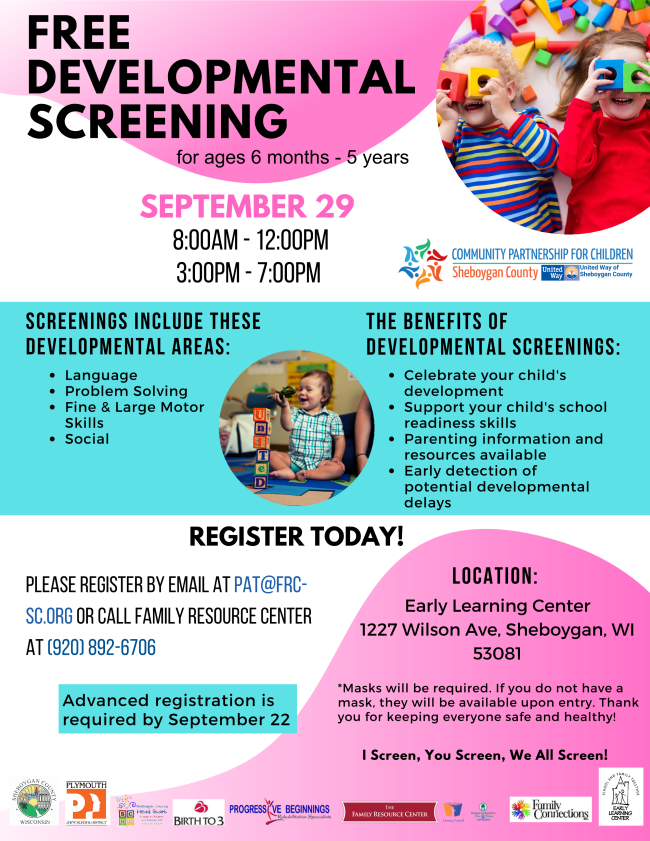 September 29 2021 Screening Event  8 AM to 12 PM and 3 PM to 7 PM for ages 6 months to 5 years.
