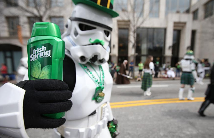 Stormtrooper with a green mustache at the Atlanta St. Patrick's Parade