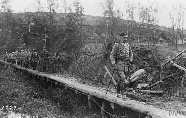 Kaiser Wilhelm II visiting captured Russian trenches near Tarnopol, July 1917
