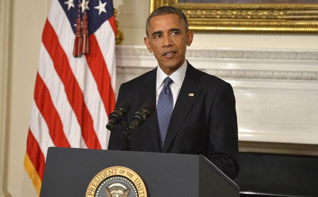 El presidente de EEUU, Barack Obama, durante su intervención en la que anunció la autorización a los bombardeos en Irak.