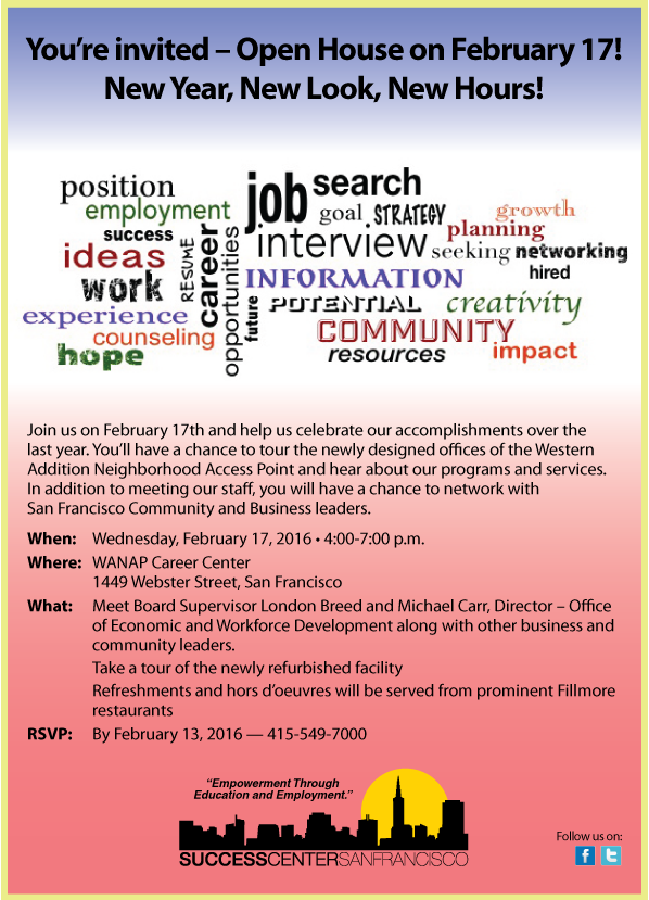 SCSF Invite to 2/17 Open House - Please RSVP