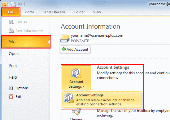 In Outlook 2010, go to the File tab, make sure Info is selected from the left menu and select Account Settings.