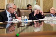 Janet Yellen, the Fed chairwoman, with Stanley Fischer, left, and Daniel Tarullo. Fed policy makers disagreed in June over how much longer to wait before raising interest rates.