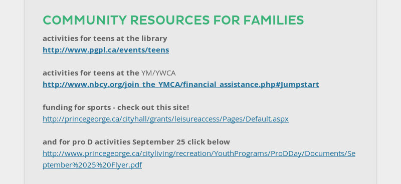 COMMUNITY RESOURCES FOR FAMILIES activities for teens at the library http://www.pgpl.ca/events/teens...