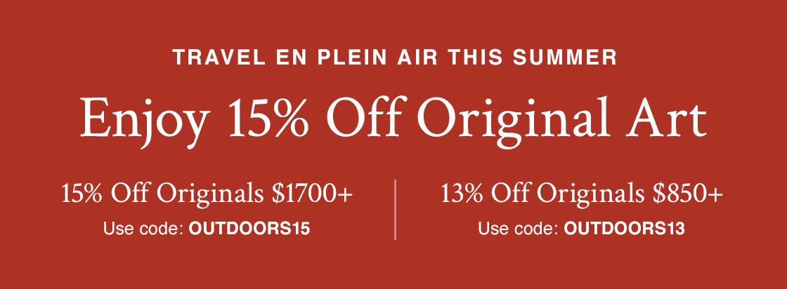Viagens En Plein Air Neste Verão |  Economize 15% na arte original 15% de desconto Originais de US $ 1700 + com código OUTDOORS15 13% de desconto Originais de US $ 850 + com código OUTDOORS13