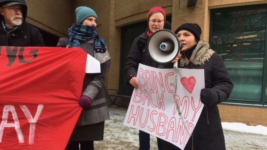 Sandra Morales speaks at Dec. 19 action in front of Member of Parliament Bardish Chagger's office.