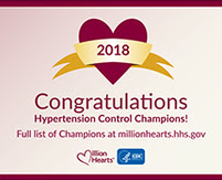 Congratulations to the 2018 Hypertension Control Champions. Full list of winners at www.millionhearts.hhs.gov