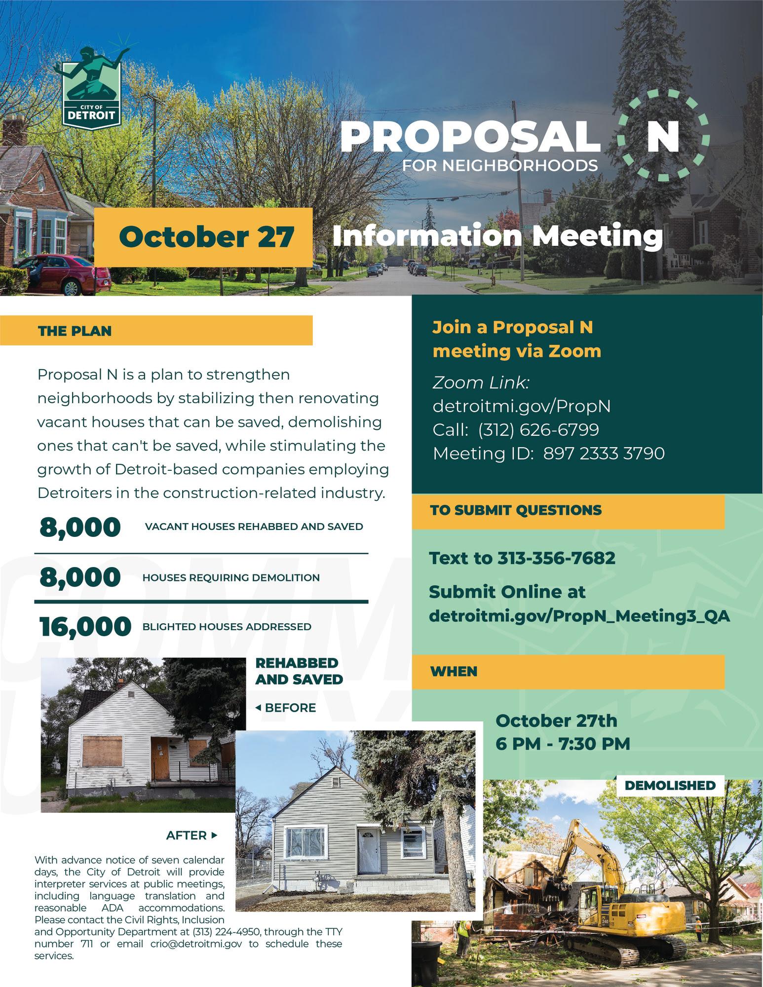 Proposal N Information Meeting Oct. 27