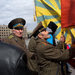 A crowd supporting Russia gathered Sunday in Kharkiv, Ukraine. It briefly confronted police officers outside a government office.