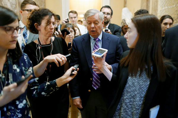 Senator Lindsey Graham speaking to reporters on Tuesday about his proposed legislation to repeal the Affordable Care Act.
