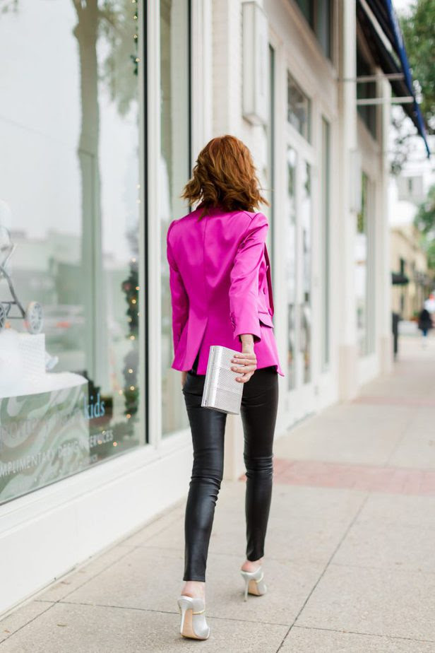 The Middle Page wearing Veronica Beard pink blazer