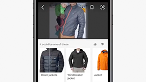A screenshot of Bing Visual Search being used to search for a winter jacket on a cellphone.