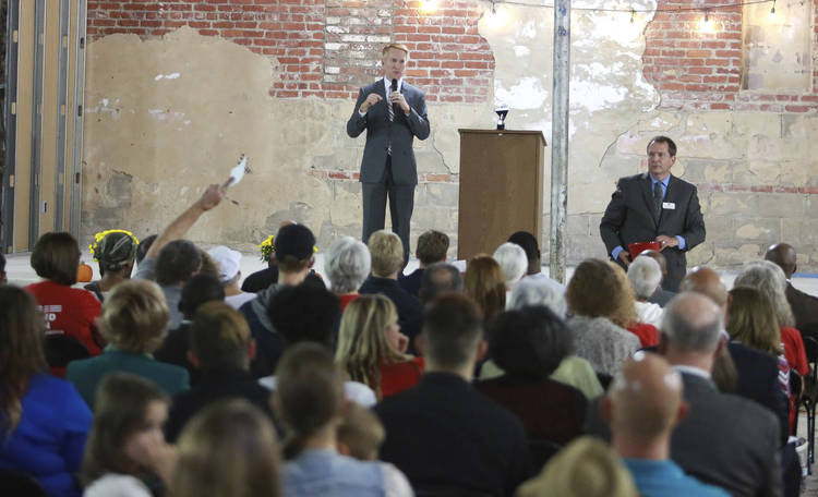 Sen. James Lankford (R-Okla.) speaks at a town hall meeting in Tulsa last Thursday. (Joey Johnson/Tulsa World via AP)