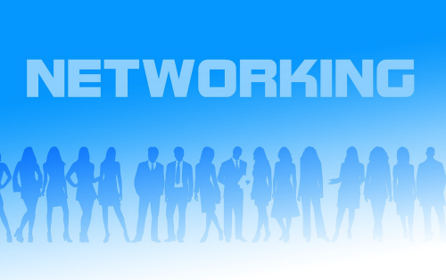 The word NETWORKING above silhouettes of men and women