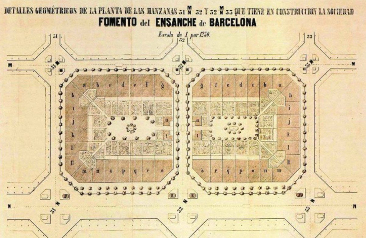 A plan for two of Cerdà's blocks, from an 1863 booklet.