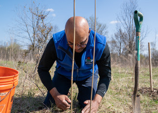 DNR Secretary Preston Cole planting a tree at Havenwoods State Forest in Milwaukee on Earth Day.