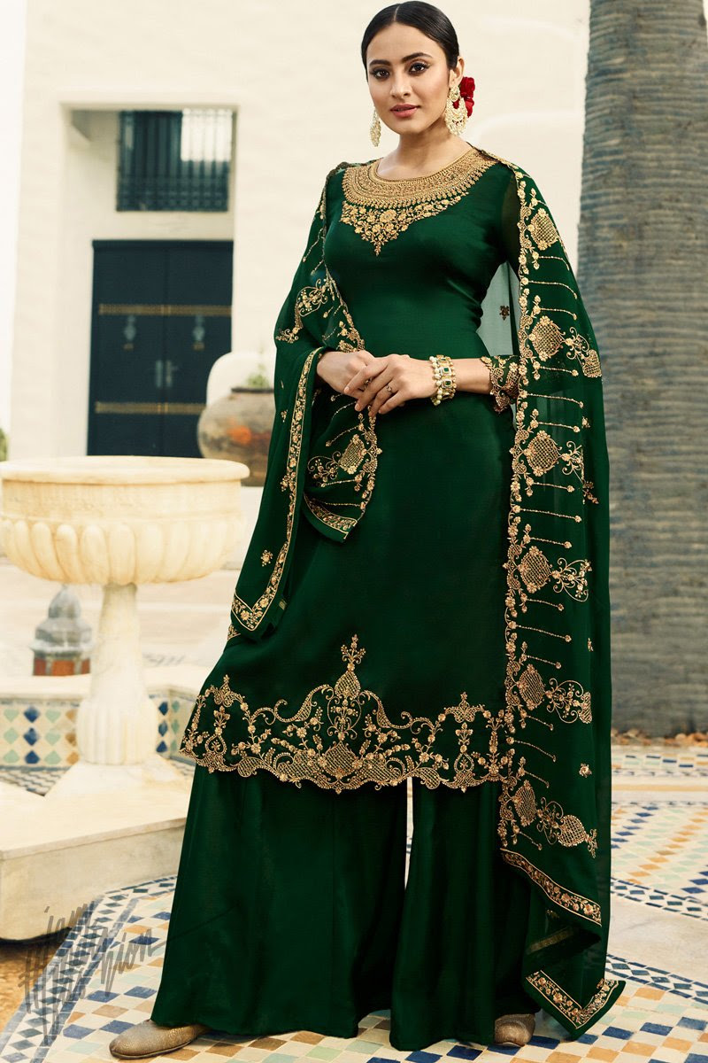 Bottle Green Satin Georgette Palazzo Suit