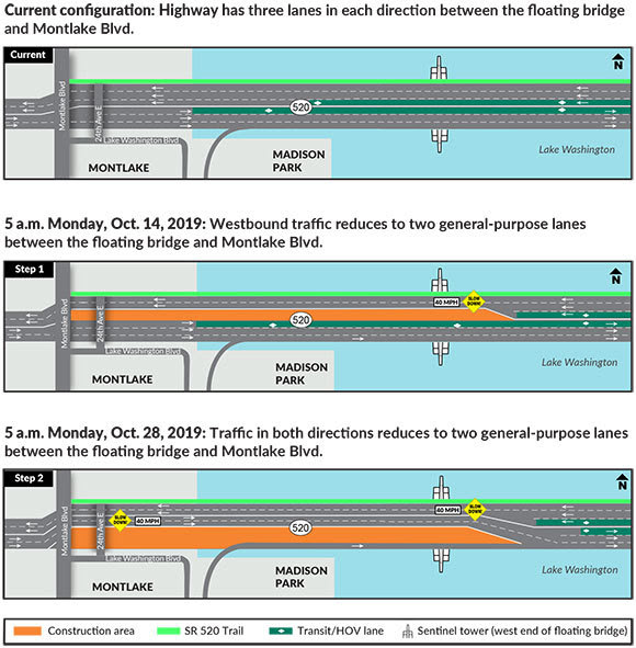 Three maps used to show a traffic shift on the SR 520 floating bridge coming up over the October 12-13 weekend.