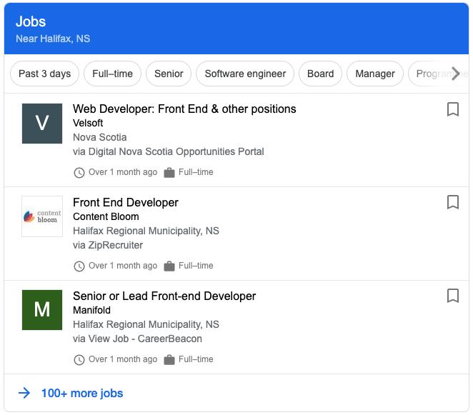 job posting results in google
