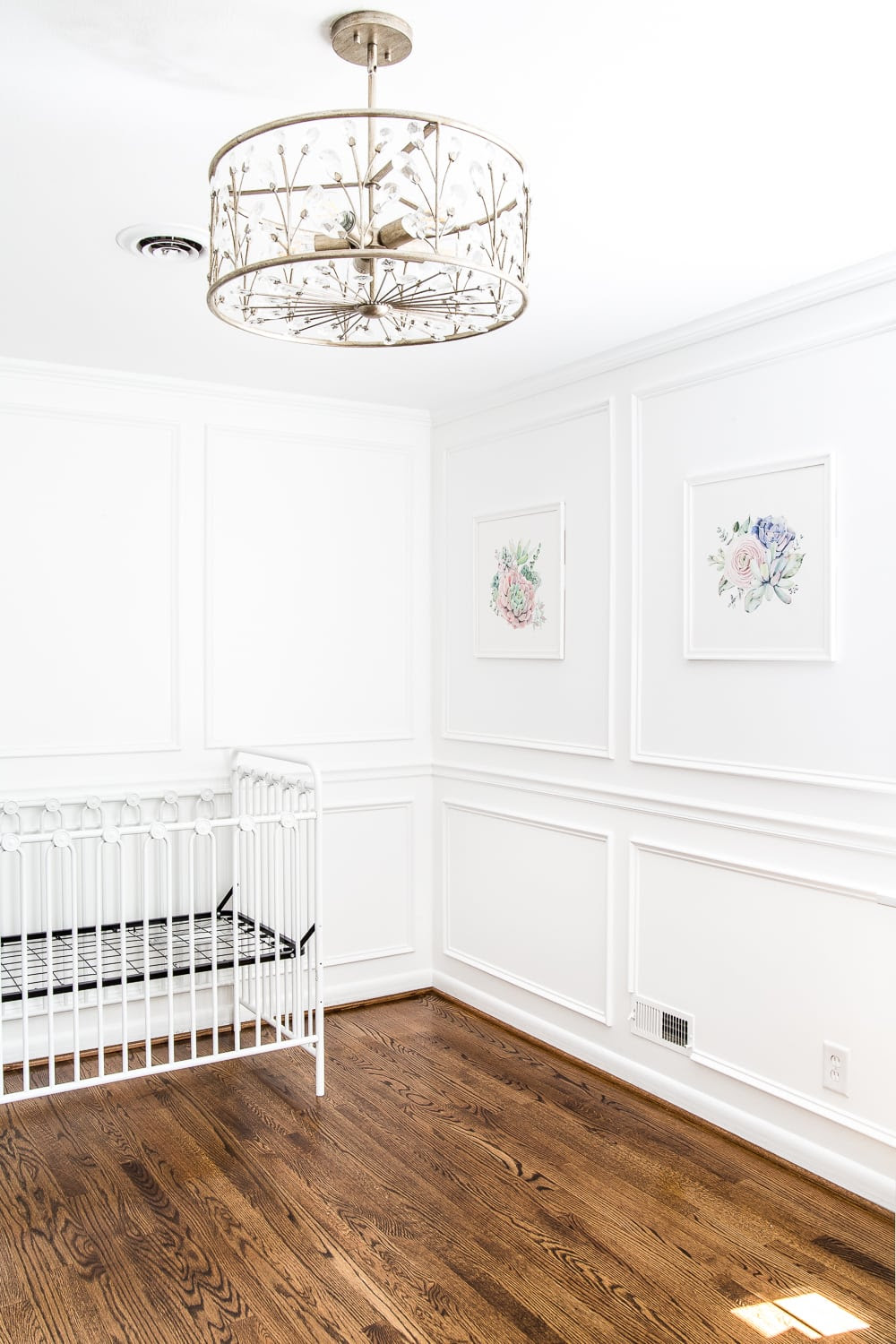 Newly refinished hardwood floors in a nursery