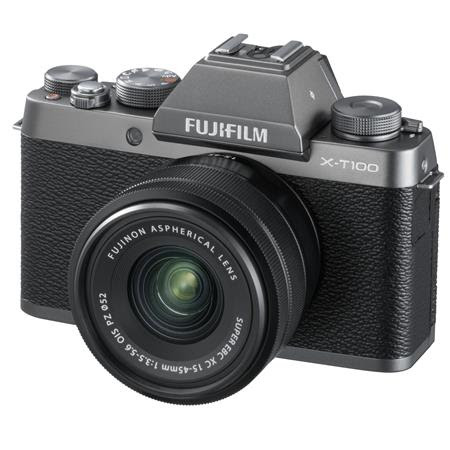 X-T100 Mirrorless Digital Camera, Dark Silver with XC15-45mmF3.5-5.6 OIS PZ Lens