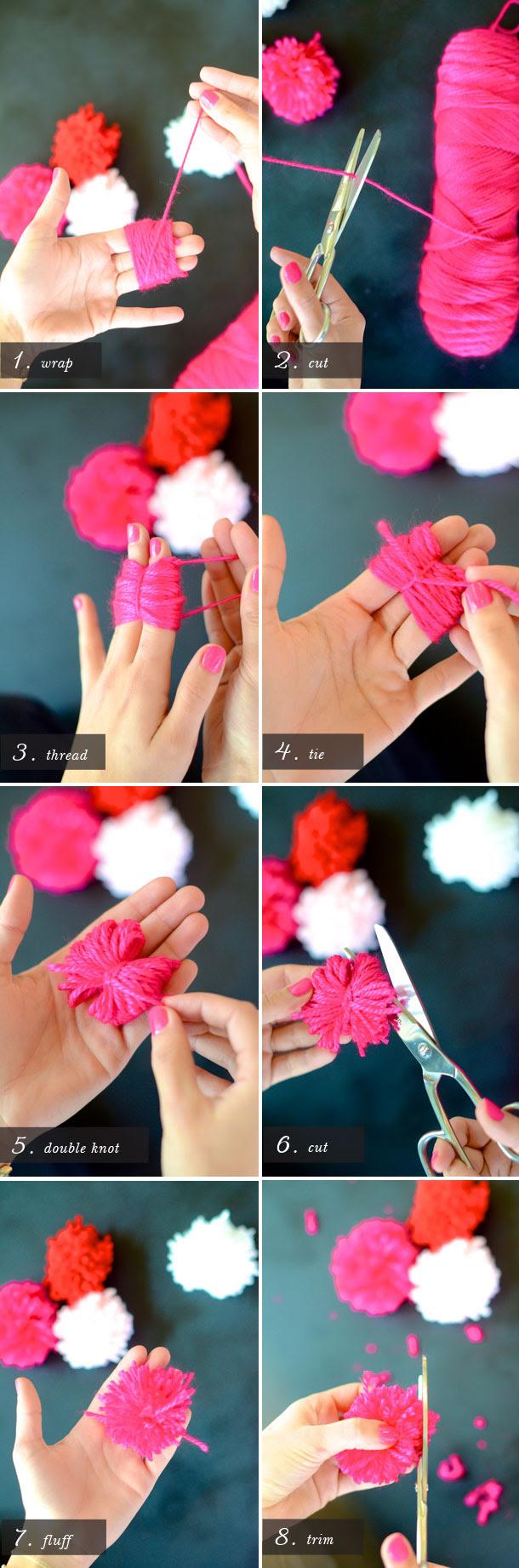 Faça pom-pom com fios de lã