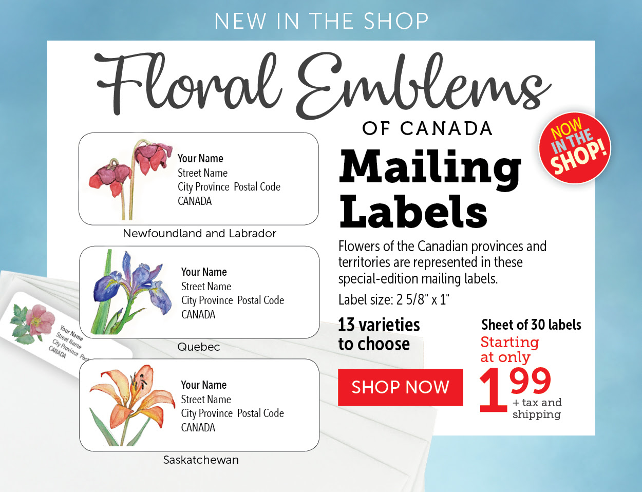 Floral Emblems Mailing Labels