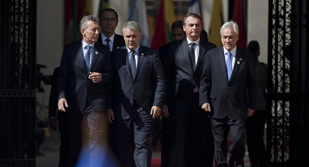 Líderes latinoamericanos durante el Foro Prosur en Santiago (Chile), el 22 de marzo de 2019