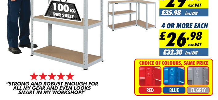 Clarke CSM5100RP 100kg Tough Steel Boltless Shelving