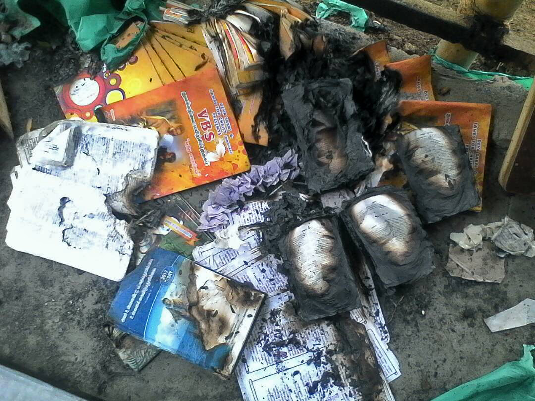 Bibles and other Christian literature charred in fire in Tamil Nadu state, India. (Morning Star News)