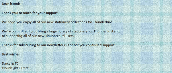 Cloudeight Stationery for Thunderbird - Just Plaids