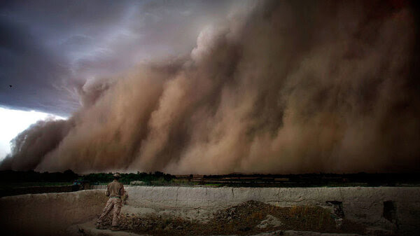 A photo shows a storm blowing over the Sangin district in Afghanistan's Helmand province.