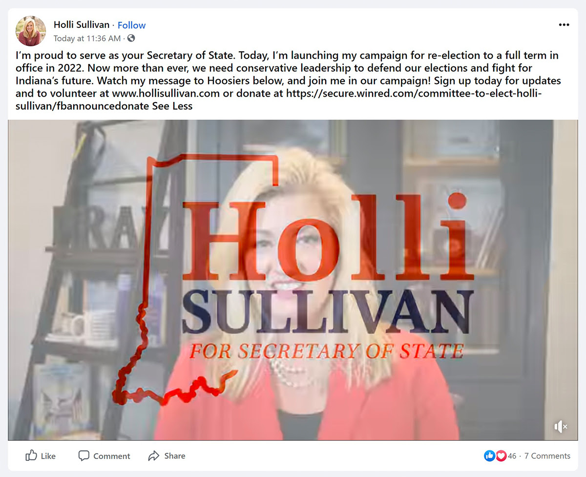 Facebook announcement made by Secretary of State Holli Sullivan on April 26th.