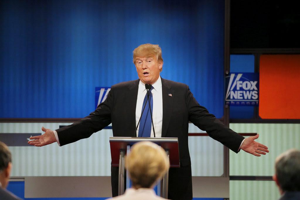Donald J. Trump at a Republican presidential debate in March in Detroit.