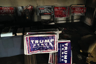 Damaged campaign signs on Sunday at the Orange County Republican Party headquarters in Hillsborough, N.C.