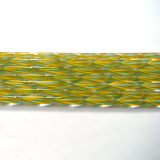 Pumpkin Yellow and Teal Striped Ribbon Cane C428