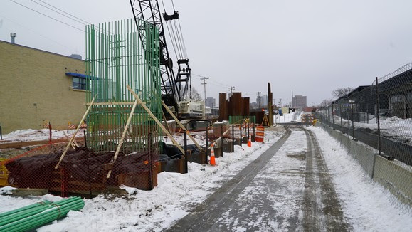 Bridge Pier Work on Royalston Avenue in Minneapolis